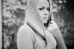 Sensual girl blonde in windy fall black and white Stock Image