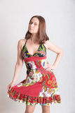 Sensual girl in a bright dress Royalty Free Stock Images