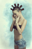Sensual girl with creative hairdo Stock Photo
