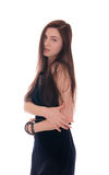 Sensual girl in dark dress Stock Photography