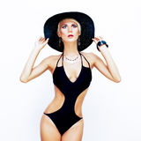 Sensual girl in fashionable swimsuit. Portrait of a sensual girl in fashionable swimsuit Royalty Free Stock Images
