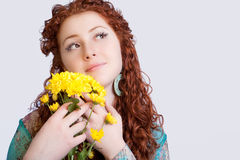 Sensual girl with flowers Stock Photos