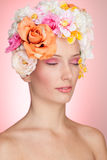 Sensual girl with flowers in hair Royalty Free Stock Images