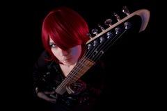 Sensual girl with guitar, high angle view Stock Image