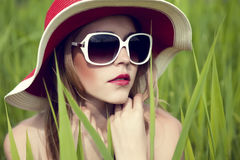 Sensual girl in the hat Royalty Free Stock Photos