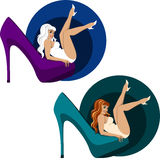 Sensual girl and high heel shoe Stock Images