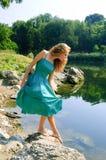 Sensual Girl In Dress Near Lake Stock Images