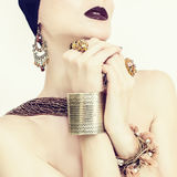 Sensual girl in jewelry Stock Photography