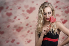 Sensual girl with lollipop Royalty Free Stock Image