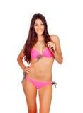 Sensual girl with pink bikini Stock Photography
