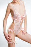 Sensual girl in pink lingerie Royalty Free Stock Photos
