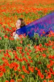 Sensual girl in the poppy field Stock Photos