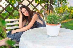 Sensual girl portrait. Outdoor shot Stock Photo