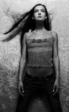 Sensual girl posing on gray Royalty Free Stock Images