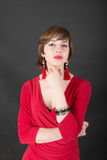 Sensual girl in a red dress Royalty Free Stock Photo