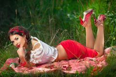 Sensual girl with red lips, pin-up cherry retro Stock Photos