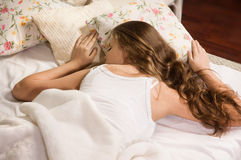 Sensual girl sleeping in the bedroom Royalty Free Stock Photography