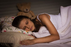 Sensual girl sleeping in the bedroom Royalty Free Stock Images