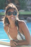 Sensual girl with sunglasses. In pool. Beautiful mouth and lips / Italian Woman Royalty Free Stock Photos
