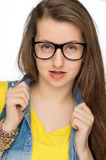 Sensual girl wearing geek glasses isolated Royalty Free Stock Images