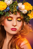 Sensual girl with wreath on hair Royalty Free Stock Images