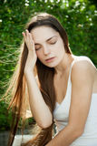 Sensual girl in the yard of outdoors Royalty Free Stock Photos