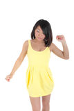Sensual girl in a yellow dress Stock Images