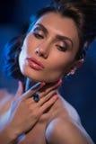 Sensual glamour portrait of beautiful woman model lady Stock Image