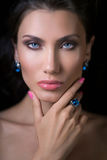 Sensual glamour portrait of beautiful woman model lady Stock Images