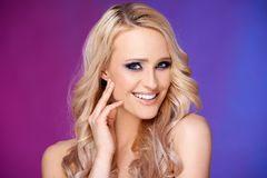 Sensual and glamour portrait of blond woman Stock Image