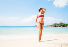 Sensual, gorgeous lady with diving mask posing on the beach Royalty Free Stock Images