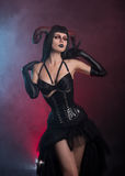 Sensual gothic girl with horns Stock Images