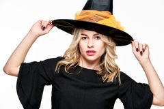 Sensual Halloween Witch Studio Portrait. Attractive young woman dressed in witch halloween costume isolated over white. Sensual Halloween Witch Studio Portrait stock images