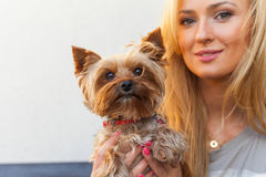 Sensual happy blonde woman sitting on wooden bench with her dog. Royalty Free Stock Images