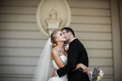 Sensual, happy newlywed valentynes hugging, wall with bust backg Royalty Free Stock Photo