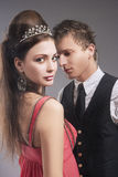 Sensual and Intimate Date of Caucasian Couple. Royalty Free Stock Images