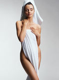 Sensual lady after bath with towel. Royalty Free Stock Image