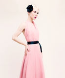 Sensual lady portrait. Dress and black fashion accessories Royalty Free Stock Photos