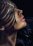 Sensual lady wearing chain mask Stock Images