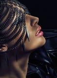 Sensual lady wearing chain mask. Sensual lady wearing dark chain mask Stock Images