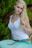 Sensual lady wears blue long skirt Stock Photo