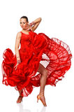 Sensual Latino dancergirl in action. Isolated Stock Photos