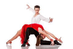 Sensual Latino dancers in action. Isolated Stock Photos