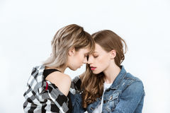 Sensual lesbian couple able to kiss isolated on grey. Young sensual lesbian couple able to kiss isolated on grey Stock Photos
