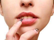 Sensual lips. Beautiful young woman's sensual lips Royalty Free Stock Photos