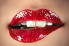 Sensual lips. Red sensual lips close up Royalty Free Stock Photo