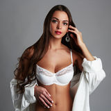Sensual love with a sexy girl.young woman with long hair Royalty Free Stock Photos