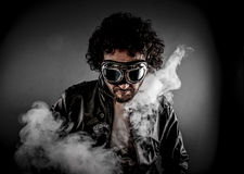 Sensual male biker with sunglasses era dressed Leather jacket, h Stock Photo