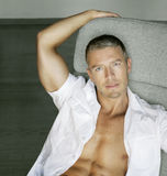 Sensual male model royalty free stock photos