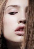 Sensual model close up portrait. Sensual model is posing. Studio shot Royalty Free Stock Photos